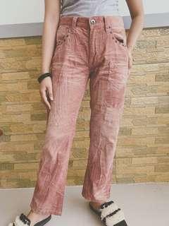 Pinked studed corduroy pants