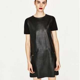 Auth💯Zara Leather Relaxed Dress Super sale!