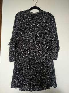 Zara Basic Ruffled Floral Long Sleeve Dress SIZE XS