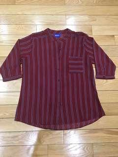 Marroon Stripped Blouse with a Pocket in Size Large