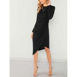Twist Side Asymmetrical Midi Wrap Dress
