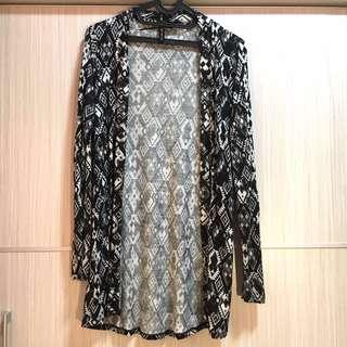 Cotton On Kardigan Motif Hitam - Baju Preloved (S)