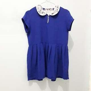 Blue Collar Lace Dress, Peplum Lace Top