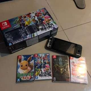 🚚 Switch 大亂鬥同綑機主機+4片遊戲片