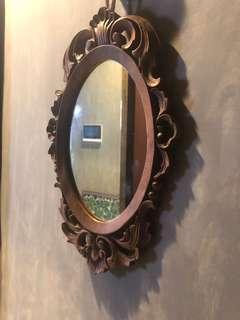 進口老木雕花鏡42*27