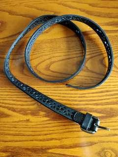 Black Leather Belt with Laset Cutouts