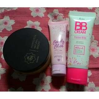 BB cream emina caramel, BB cream Fanbo Beige 02 dan Natural Bright Viva Queen Bedak Tabur Beige Bundle (kondisi 90%)
