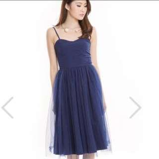 TCL Je t'aime Tulle Dress in Navy