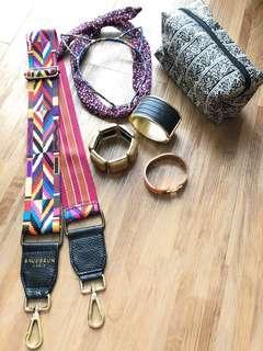 bracelet, sling bag, headbands, toiletry bag.