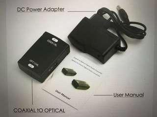 Toslink optical to coaxial RCA converter