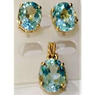 Authentic Topaz Earring and Pendant in 14k Gold