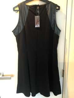Black dress with pleather detail