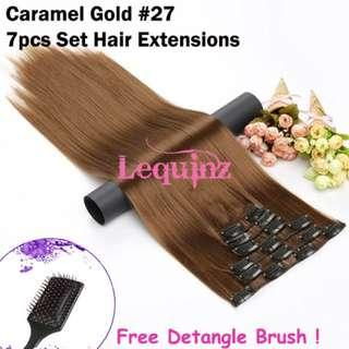Hair Extensions Clip On 7 Pieces Set Straight 60cm Caramel Gold #27