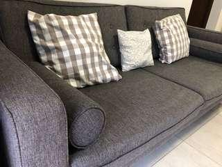 🚚 4 seater Scandinavian grey colour fabric sofa