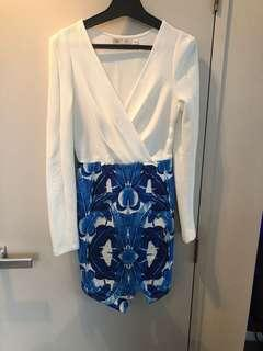 Long sleeve Blossom dress with blue plant detail.