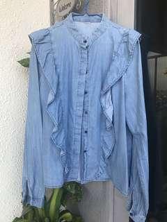 H&M ladies' chambray frill demin shirt