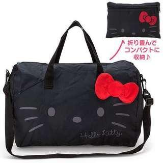 🚚 日本進口 凱蒂貓輕巧折疊登機袋-黑色