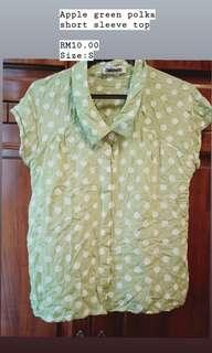 Apple green polka dot button shirt