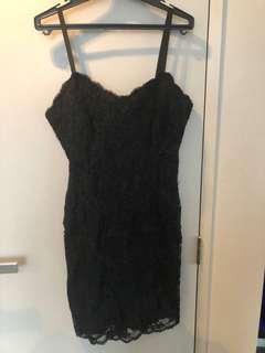 Black lace v dress