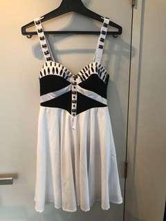 Black and white beed detail dress