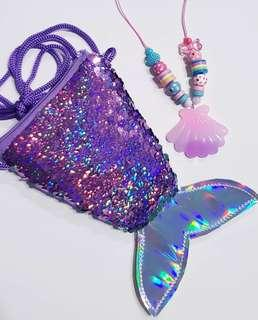🚚 Very cute mermaid sequin bag and necklace set