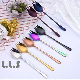 🚚 Colorful Spoon Stainless Steel Meal Spoon Fork (KC1125) Singapore Seller + 100% Authentic