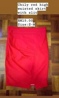 Red high waisted skirt