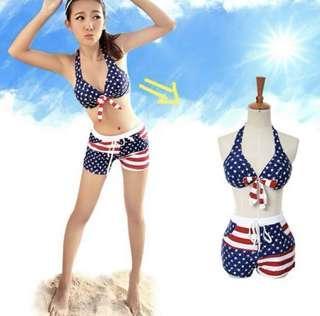 XL Beach 2-pcs Bikini Pants Set Swimwear Swimsuit Blue Star 沙滩短裤平角比基尼