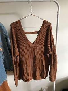 brown knitted jumper - open back size 16