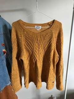 yellow ochre knitted jumper size L