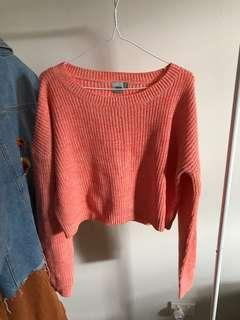 asos coral cropped knitted jumper size L