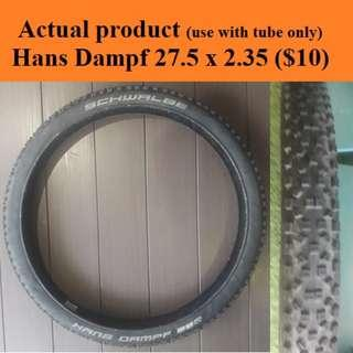 Used Hans Dampf (27.5 x 2.35) and Ardent (27.5 x 2.4) To use with inner-tube ONLY