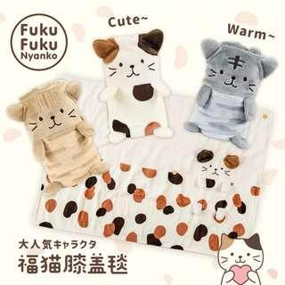 🚚 日本貓咪可愛午睡毯羊毛毯,創意卷袋卡通午睡小毛毯,辦公室單人可愛,膝蓋毯,兒童空調毯,羊毛毯。