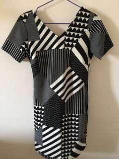 monochrome geometric shift work dress