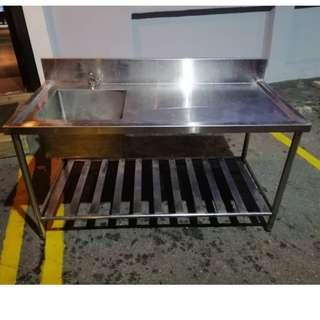 Stainless Steel Single Bowl Sink with Undershelf