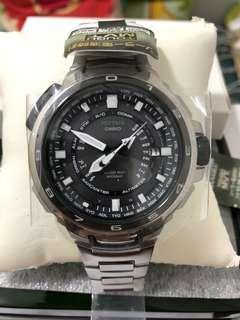 日本CASIO PROTREK MANASLU 限量版PRX-7000T-7JF太陽能6局電波3重感應器(氣壓、溫度、高度)行山型鈦金屬錶帶手錶