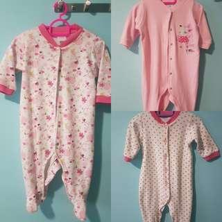 (Pre-loved) 3 pieces of Baby Girl Romper / Sleepsuit