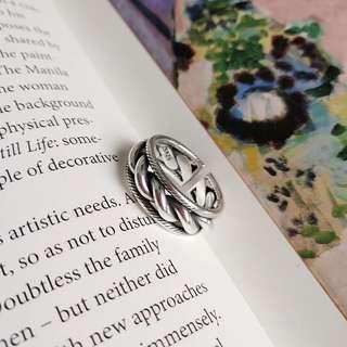 925純銀復古麻花開口戒指