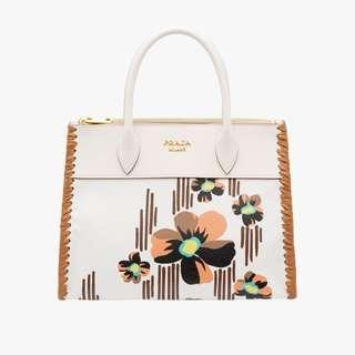 Prada Paradigme Imprime Madras Floral Pattern White Leather Handbag Satchel