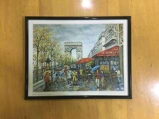 """French Painting in Frame """"Paris- Arc de Triomphe"""