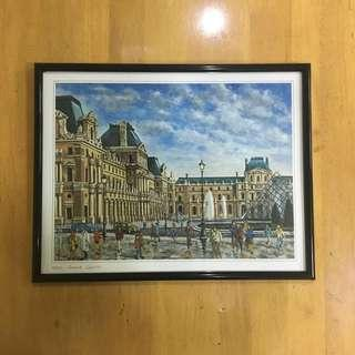 """French Painting in Frame """"Paris- Grand Louvre"""