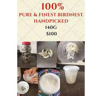 100% PURE AND FINEST HANDPICKED BIRDNEST - 140G AT $100