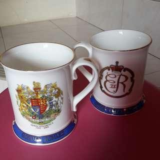 2pcs Vintage Commemorative Mug Queen Elizabeth II Golden Jubilee