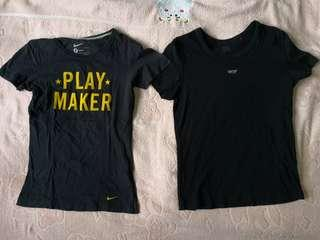 (set) Esprit and Nike black t shirt in size S