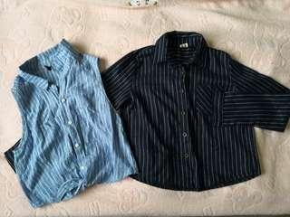 (Set) H&M Stripe shirt in blue for ladies