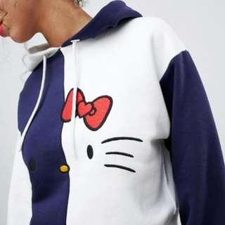 Hello Kitty x ASOS Cropped Color Block Hoodie in UK6