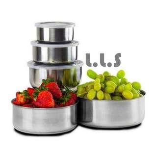 5 Pcs Food Container Stainless Steel Double-Insulated Home Rice Soup Bowl (KC1132) Singapore Seller + 100% Authentic