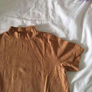 Brown Mock Neck Crop Top