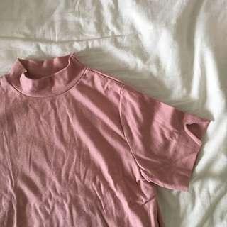 Pink Mock Neck Crop Top