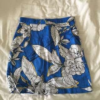 Warehouse Floral Blue A Line Skirt